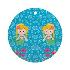 Mermaid with Yellow Hair Round Ornament
