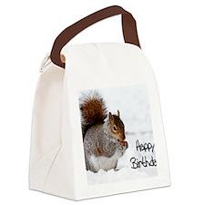 Happy Birthday Squirrel Canvas Lunch Bag