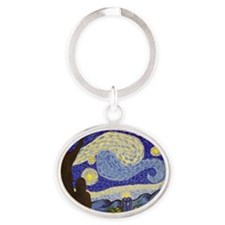 Dr. Starry Night Oval Keychain