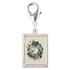 BLUE HYDRANGEA Silver Portrait Charm