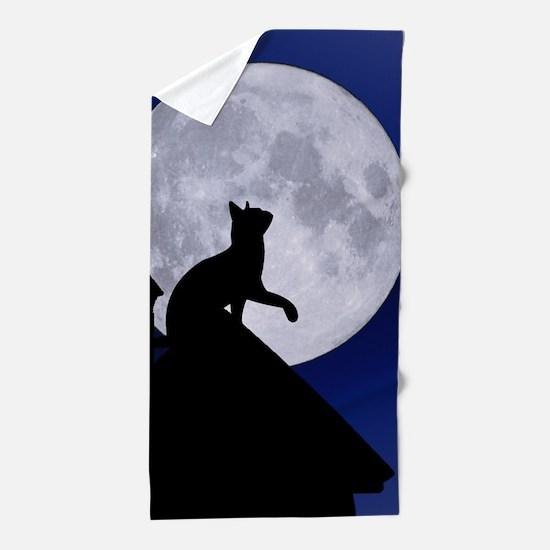 Moon Cat Beach Towel
