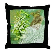Lily of the Valley Collage Throw Pillow