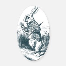 Late Rabbit Oval Car Magnet