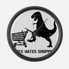 T-Rex Hates Shopping Large Wall Clock