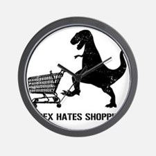 T-Rex Hates Shopping Wall Clock