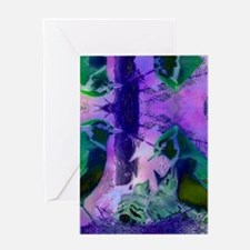Abstract Rose Birds – Violet  Pink C Greeting Card