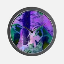 Abstract Rose Birds – Violet  Pink Cycl Wall Clock