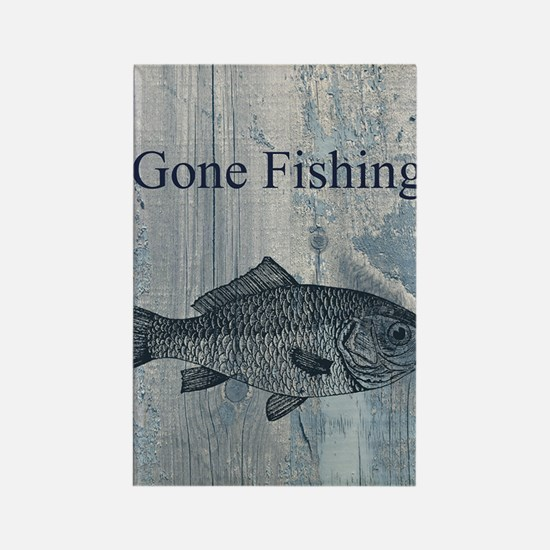 Gone Fishing Rectangle Magnet