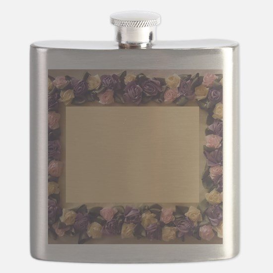 Pink Lilac Cream Ribbon Roses Picture Frame Flask