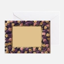 Pink Lilac Cream Ribbon Roses Pictur Greeting Card