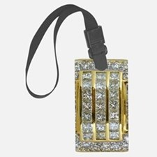 Yellow Gold and Diamond Bling Luggage Tag