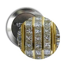 """Yellow Gold and Diamond Bling 2.25"""" Button"""