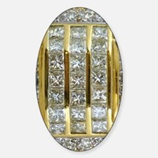 Yellow Gold and Diamond Bling Sticker (Oval)