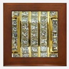 Yellow Gold and Diamond Bling Framed Tile