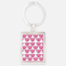 Cute Pink Pigs Portrait Keychain