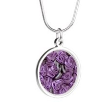 Lilac Ribbon Roses Heart Silver Round Necklace