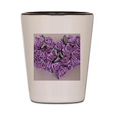 Lilac Ribbon Roses Heart Shot Glass