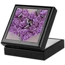 Lilac Ribbon Roses Heart Keepsake Box
