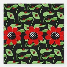 "Ladybugs and Flowers Square Car Magnet 3"" x 3"""
