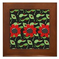 Ladybugs and Flowers Framed Tile