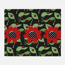 Ladybugs and Flowers Throw Blanket