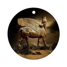 Winged Bull Round Ornament