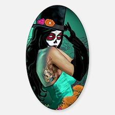 Top Hat Dia de los Muertos Pin-up Sticker (Oval)