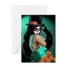 Top Hat Dia de los Muertos Pin-up Greeting Card