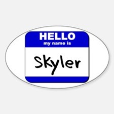 hello my name is skyler Oval Decal