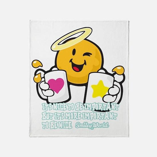 Be nice Smiley Throw Blanket