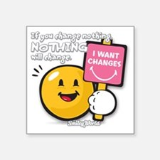 """Looking for a change Smiley Square Sticker 3"""" x 3"""""""