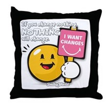 Looking for a change Smiley Throw Pillow
