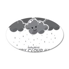 Cloudy Smiley 35x21 Oval Wall Decal