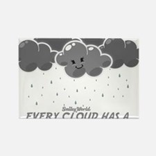 Cloudy Smiley Rectangle Magnet