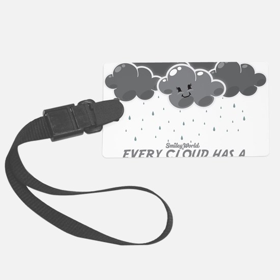 Cloudy Smiley Large Luggage Tag
