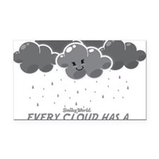 Cloudy Smiley Rectangle Car Magnet