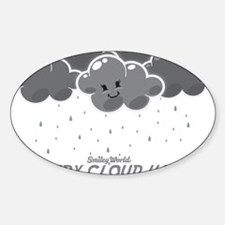 Cloudy Smiley Sticker (Oval)