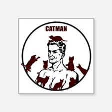 "The Crazy CatMan Square Sticker 3"" x 3"""