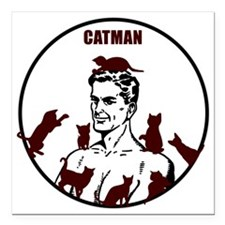"The Crazy CatMan Square Car Magnet 3"" x 3"""