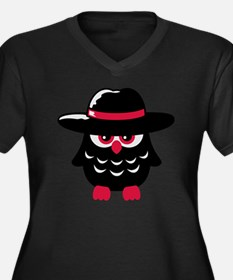 owl_with_hat Women's Plus Size Dark V-Neck T-Shirt