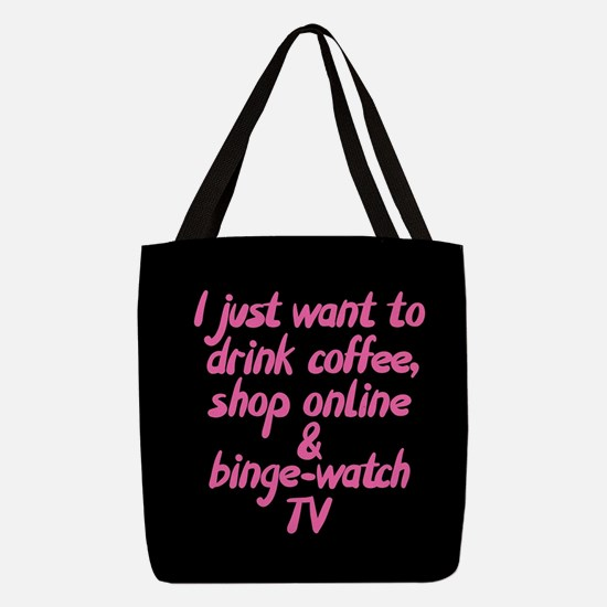 Drink Coffee Shop Online and Bi Polyester Tote Bag