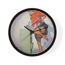 Classic Elvgren 1950s Pin Up Girl Wall Clock