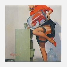 Classic Elvgren 1950s Pin Up Girl Tile Coaster