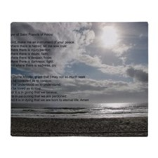 Prayer of St. Francis over beach Throw Blanket
