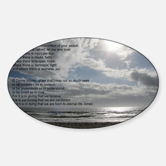 Prayer of St. Francis over beach Sticker (Oval)