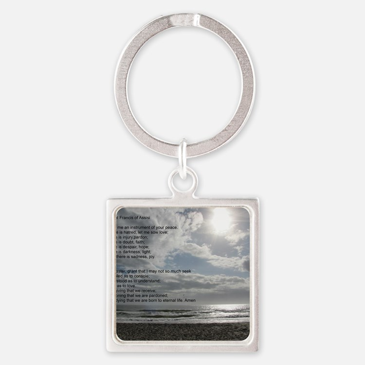 Prayer of St. Francis over beach Square Keychain