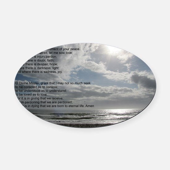 Prayer of St. Francis over beach Oval Car Magnet