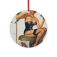 Classic Elvgren 1950s Pin Up Girl Round Ornament
