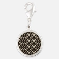 Black Damask Silver Round Charm