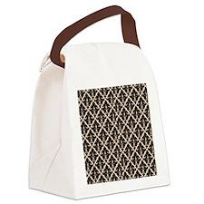 Black Damask Canvas Lunch Bag